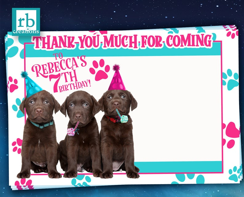 Puppy Birthday Dog Party Puppy Birthday Printed Flat Thank You Notes with Envelopes Party Animal PRINTED Puppy Party Thank You Note