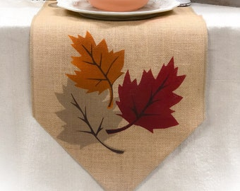 Fall Table Runner With Leaf Design On Both Ends   Thanksgiving Runner,  Holiday Decor, Fall Burlap Table Runner