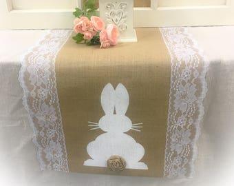 Burlap Small Rabbits Runner by sweetjanesplan Rustic Easter Bunny Rabbits Table Runner Burlap White Bunnies With Bows Runner