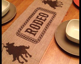 Burlap Table Runner   With Western Cowboys U0026 A Name In The Center Or Rodeo    Western Decor Cowboy Decor
