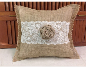 Burlap Pillow with Ivory lace and Burlap rose