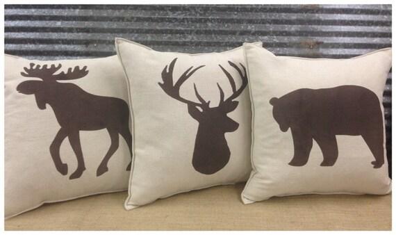 Decoratieve kussen set met een beer herten eland & silhouet. etsy