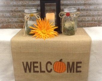 "Burlap Table Runner with Welcome & a pumpkin for the ""O"" on both ends Holiday decorating Home decor"