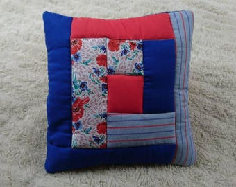 Blue and Red, Patchwork decorative cushion