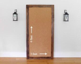Giant Cork Board, Wall Bulletin Board 36 x 72 Office Wall Decor, Shown in Medium Brown Stain