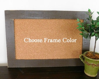 Framed Cork Board with Rustic Wood Frame 24 X 36 Shown in Dark Chocolate