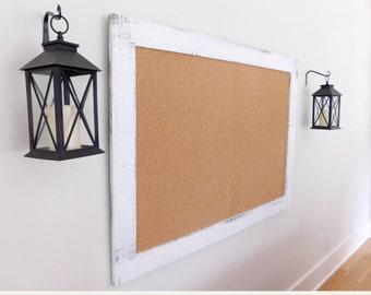 Framed Cork Board, Message Center 36x48 Shown in Pure White