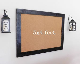 FRAMED BULLETIN BOARD - Cork Board - Notice Board - Office Organizer - Industrial  - Shown in Black - 36 x 48 - More Colors Available