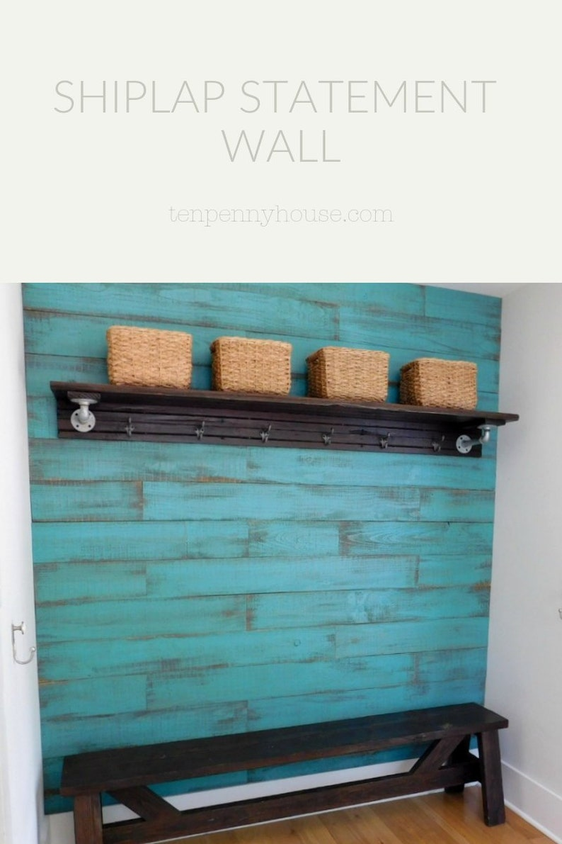 Shiplap Accent Wall  Rustic Wood Wall Wood Planks Shown in image 0