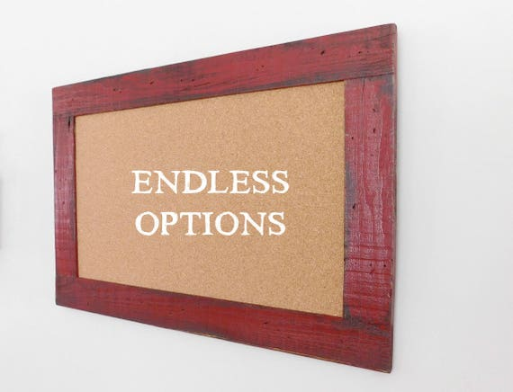 Large Cork Board Message Center 24 X 36 Shown In Barn Red Etsy