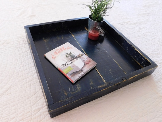 Excellent Square Coffee Table Tray Large Ottoman Tray 24 X 24 Shown In Navy Ncnpc Chair Design For Home Ncnpcorg