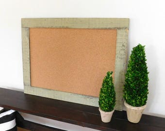 COMMAND CENTER - Large - Framed Bulletin Board - Cork Board - Organizer - Home Office - Shown in Sage - Large 30 x 40 - Many Color Options