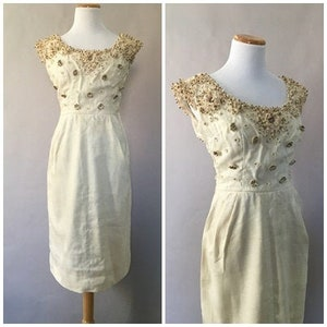 Lam\u00e9 Above The Knee Vintage 1960s Gold Metallic Shiny Long Sleeve Party Dress /'Josef of Montreal/' Size Medium Hostess Dress