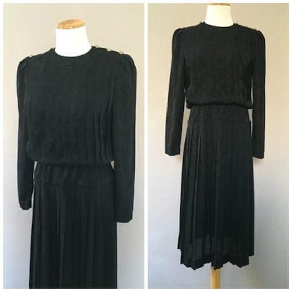 Vintage 1980s does 1940s Silky Black Dress Flirty