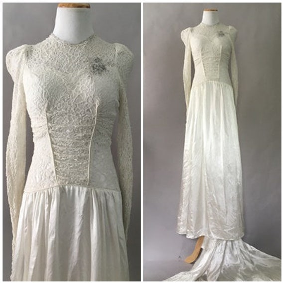 Vintage 1940s Ivory White Lace Wedding Gown 40s Pa