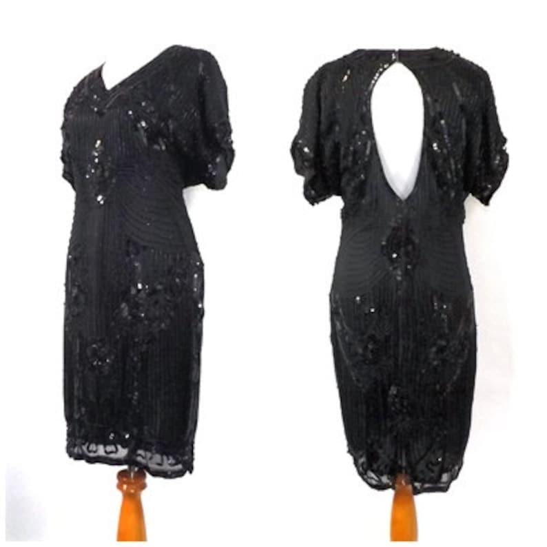 b13b9834b48 Vintage 80s does 1920s Beaded Dress Black Deco Beaded Silk