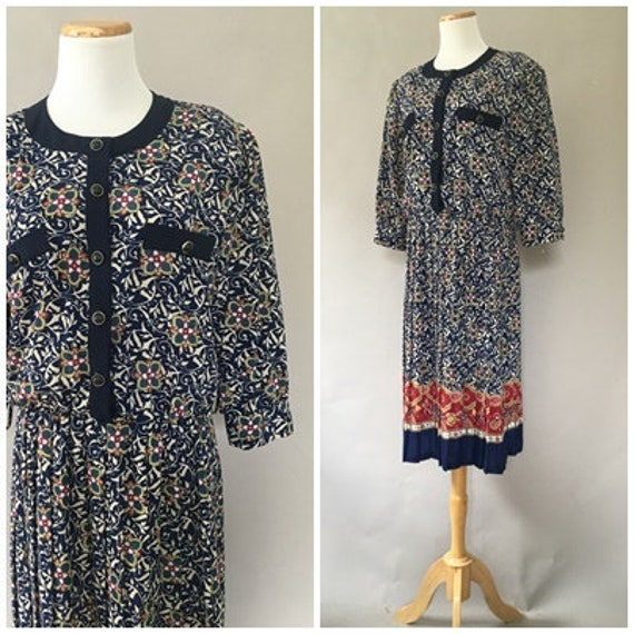 Vintage 1980s does 40s Shirt Dress 50s Day Dress T
