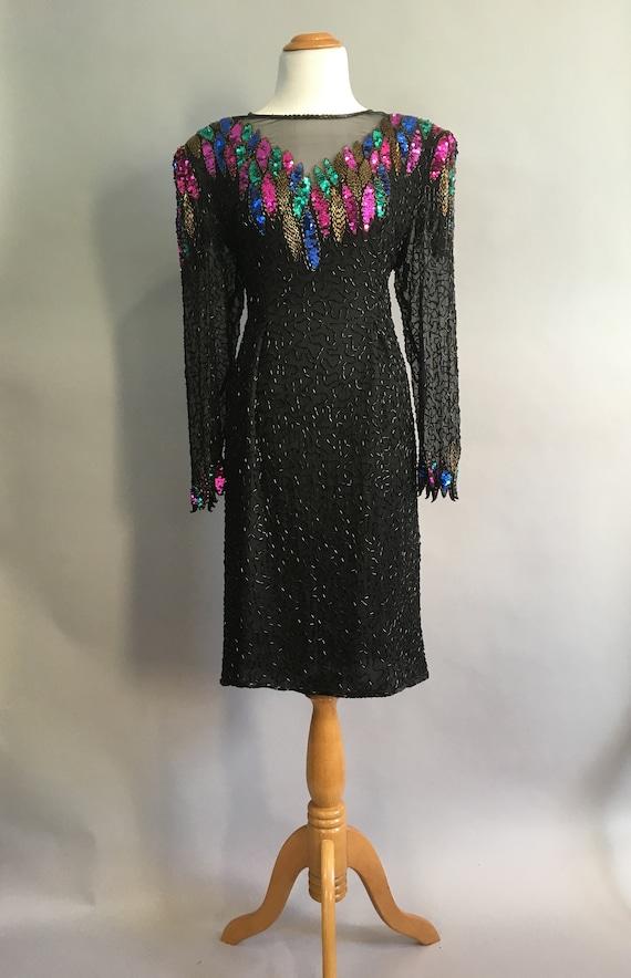 1d2e259afba Vintage 80s does 1930s Scala Black Sequin 1920s Long Sleeve
