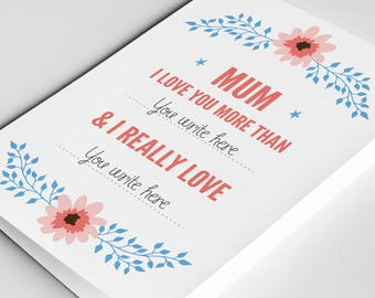 Mother's Day Card Fill in the Blank, Mother's Day Card Funny, Mothers Day Personalised Card, Funny Mum Card, Card for Mum, Funny Card Mum