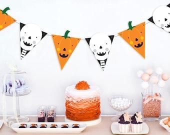Printable Halloween Bunting, Spooky Halloween Decorations, Halloween pumpkin garland, Halloween Party Decorations, Spooky Halloween banner