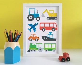 Transport prints, Transport print boys room, transport wall art, transport decor, transport kids, boys bedroom print, digger print, tractor