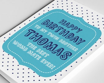 Twin Brother Birthday Card, Womb Mates Card, Twin Card, Card for Twins, Happy Birthday Brother, Card for Them, Twin Birthday Card, Twin Gift