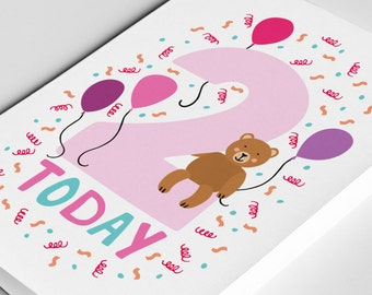 2 Year Old Birthday Card Kids Birthdays Cards Age Baby Happy Girl Two