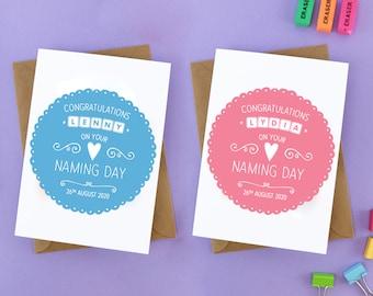 Naming Day Card, Name Day Card, Naming Ceremony Card, Baby Naming Day Card, Baby Naming Gift, Baby Name Gift, Naming Day Gift