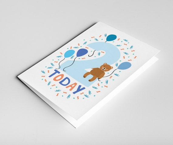 2 Year Old Birthday Card Kids Birthdays Cards Age Cards Baby Card Happy Birthday Card Baby Gift Baby Boy Card Two Year Old Birthday