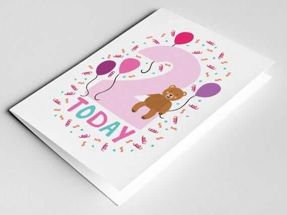 2 Year Old Birthday Card Kids Birthdays Cards Age Cards Etsy