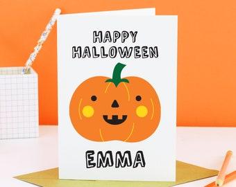 Personalised Halloween card, Personalised Happy Halloween Cards, Personalised Pumpkin Card, Personalised Children's Halloween Card, Spooky