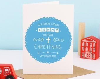 Godson Christening Card, Godson Card, Personalised Christening Card, Godson Baptism Card, Personalised Godson Card, Godparent, Baptism Gift