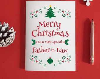 Father in Law Christmas Card, Father in law card, Father in Law Christmas gift, to my father in law, christmas card for dad in law