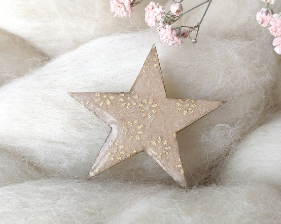 Christmas star brooch - Laser cut wood and origami paper - Various colors and patterns : Burgundy red or light beige and gold floral pattern