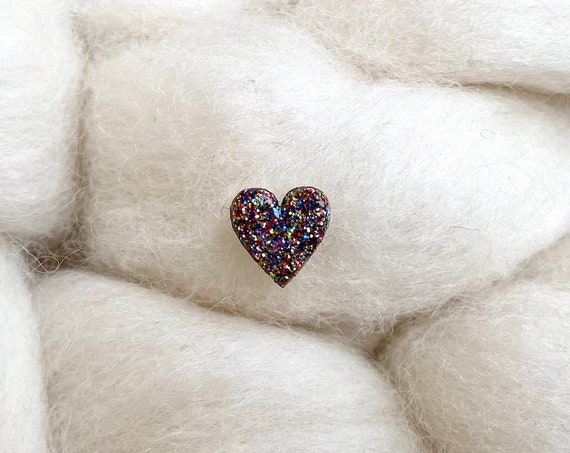 Laser cut heart wood and glitter - Cute tiny decorative pin - Multicolor sparkles