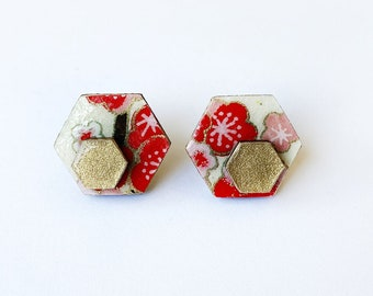 Cute hexagon earrings - Laser cut wood and colorful origami paper -Red and pink flowers and gold