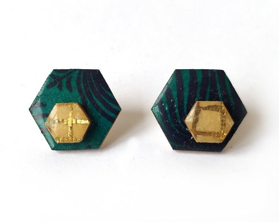 Cute hexagon earrings - Laser cut wood and colorful origami paper - Blue flowers and gold stripes