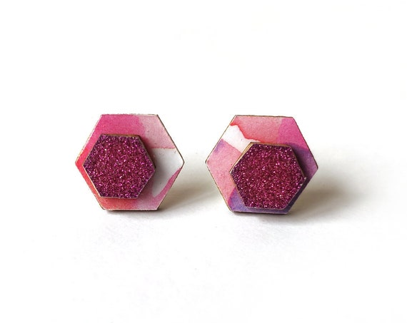Cute hexagon earrings - Laser cut wood and colorful origami paper - Pink and white pattern and glitter