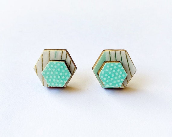 Cute hexagon earrings - Laser cut wood and colorful origami paper - mint green and white pots and lines