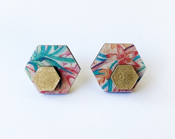 Cute hexagon earrings - Laser cut wood and colorful origami paper - Tropical flowers and gold