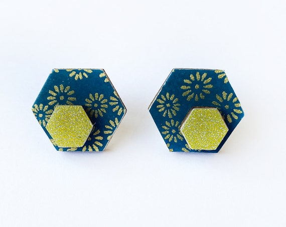 Cute hexagon earrings - Laser cut wood and colorful origami paper - Gold flowers on teal blue, gold glitter