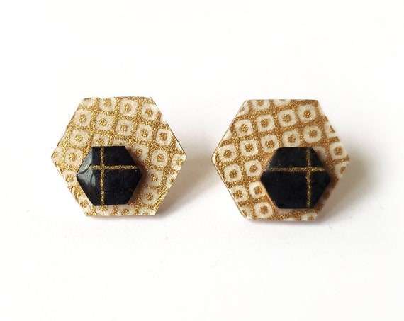 Cute hexagon earrings - Laser cut wood and colorful origami paper - Copper patterns and dark blue