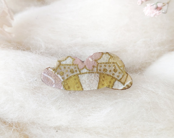 Pastel and gold cloud brooch - Laser cut wood and origami rice paper pin