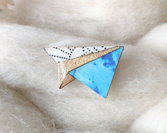 Origami plane brooch - Laser cut wood and origami paper - Blue and silver tones