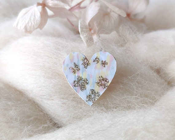 Laser cut heart shaped pin - Love brooch - Colorful origami paper with gold and glittery flowers