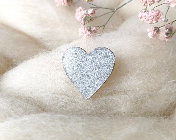 Laser cut heart shaped pin - Love brooch - Rice origami paper - Iridescent silver