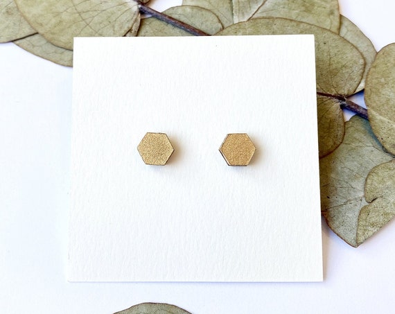 Cute hexagon earrings - Laser cut wood and gold origami paper
