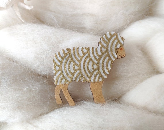 Sheep brooch - Laser cut wood and origami paper - White and gold