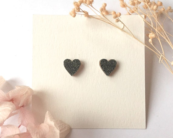 Love heart earrings - Laser cut wood and origami paper - Black glitter