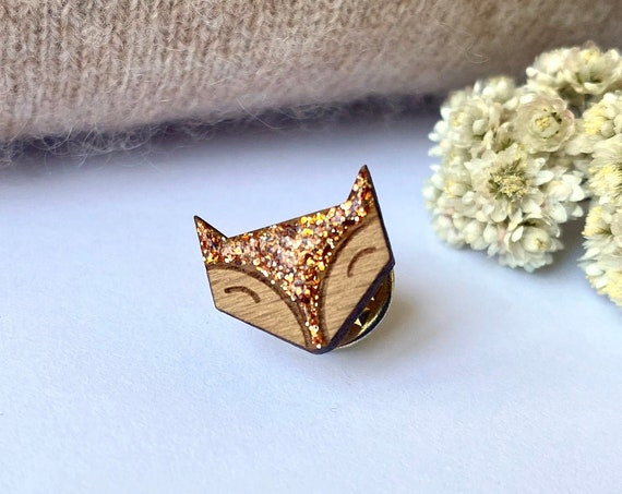 Cute fox pin's - Laser cut wood and copper glitter brooch